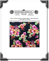 Poly Challis Peach Skin Print - Style # 6547 - BLK - Orange