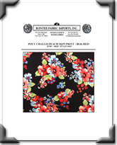 Poly Challis Peach Skin Print - Style # 6547 - BLK - RED