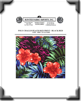 Poly Challis Peach Skin Print - Style # 6550 - Black - Red